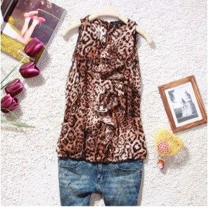 Майка AliExpress Long design leopard print vest female basic vest women's sleeveless vest plus size available f158a фото