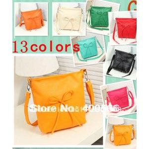 Сумка Aliexpress New 2014 hot selling high quality bow way messenger 13 - colors women summer PU bag one shoulder bags FREE SHIPPING фото