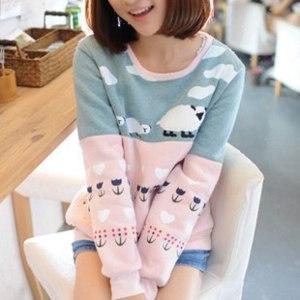 Свитер AliExpress Autumn Cute ladies' top pullovers winter women's cotton Hoodies coat, long sleeve Sweatshirts lovly little sheep Anime фото