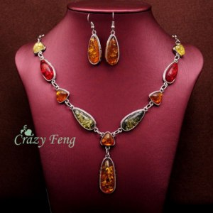 Комплект бижутерии Aliexpress Women's Vintage Retro 18k Platinum Plated Amber African Jewelry Sets Necklace + Earrings Wedding sets Free shipping фото