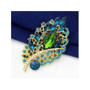 Брошь Aliexpress Elegant bouquet gold-plated rhinestone brooch And blue crystal glass pins, jewelry brooches for women фото