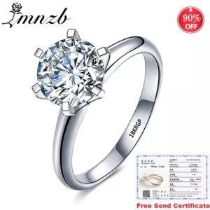 Кольцо Aliexpress Sale at a loss! With Certificate Original 18K White Gold Ring Luxury 2.0ct Lab Diamond Wedding Band Women Silver 925 Ring LR168 фото