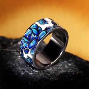 Кольцо Aliexpress New Ladies Classic Epoxy Enamel Blue Flower Ladies Ring 925 Silver Ladies Jewelry Wedding Ring Bridal Jewelry Wide Silver Ring фото