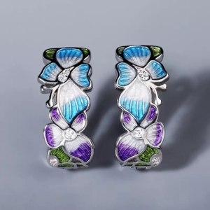 Серьги Aliexpress Fashion Ladies 925 Silver Earrings Butterfly Flower Shape Jewelry Blue Butterfly Earrings Fashion Ladies Jewelry Flower Earrings фото