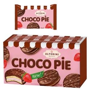 """Печенье """"Alterini Choco Pie"""" с начинкой маршмеллоу со вкусом клубники фото"""