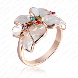 Кольцо Aliexpress Hotting Sale Jewelry Ring With RoseGold Plt SWA Elements Austrian CrystalBlack Enamel Flower/Wedding Ring ForWomen ITL-RI0017 фото