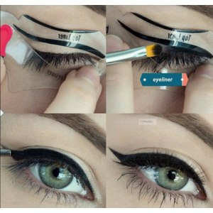 Трафареты для макияжа Aliexpress 2pcs makeup New style cat eyeliner stencil kit model for eyebrows template top bottom liner eye fard a paupiere diy pochoir card фото
