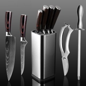 Набор  ножей AliExpress XITUO Kitchen Chef Set Knife Stainless Steel Knife Holder Santoku Utility Cut Cleaver Bread Paring Knives Scissors Cooking Tools фото
