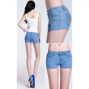 Шорты AliExpress Plus Size shorts2016 Fashion Denim Shorts Women skinny Mid Waist Hot Girls shorts female Pockets Button Fly denim shorts jeans фото