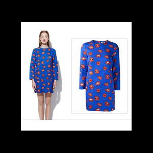 Платье AliExpress New 2014 Fashion Women Dresses Hot Selling 3D Red Lips/Kisses Print Novel Vestidos Spring-Summer Sexy Party Brief Dress LQ4322 фото