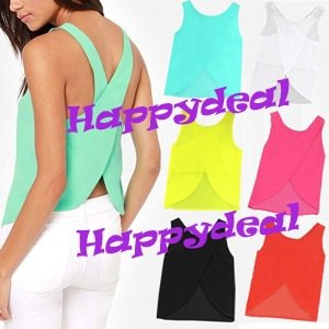Топ AliExpress Free Shipping 2014 Summer Women Blouses Candy Color Casual Lady Shirts Sexy Backless Strap Chiffon Blouse Tops ladies' Vest фото