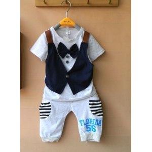 Костюмчик AliExpress Fashion fake vest short-sleeve T-shirts + pant bow 2 colors fits2-5 years фото