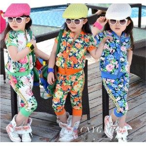 Костюм AliExpress Girls rimmed flower print sport girl clothing sets zipper outerwear+haren pants 2pcs summer suits baby фото