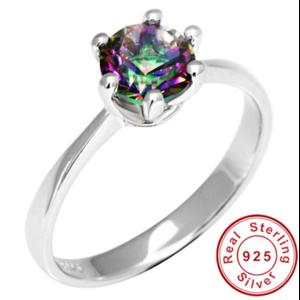 Кольцо серебряное Aliexpress Genuine Mystic Fire Rainbow Topaz Engagement Wedding Ring Solid 925 Sterling Concave Round Unique 2015 Brand New Gift For Girls фото