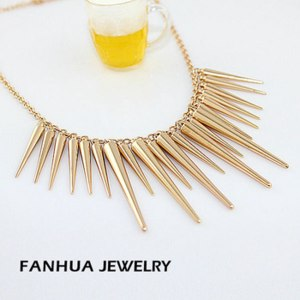 Ожерелье Aliexpress New 2014 Fashion Individual New Style Gold and Silver Color Alloy Exaggerate Spikes Punk Necklace for Women фото