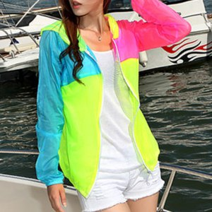 Ветровка AliExpress Casacos Femininos Sun Protection Coat Women 2014 New Summer Breathable Transparent Thin Candy Color Patchwork Jacket WWK151 фото