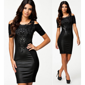 Платье AliExpress  New European Fashion Women Black Leather PU Bodycon Bandage Evening Party Dress with Embroidery 9039 фото