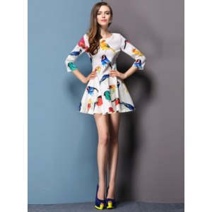 Платье AliExpress New 2014 spring and summer new arrival fashion multicolor print ruffle one-piece dress фото