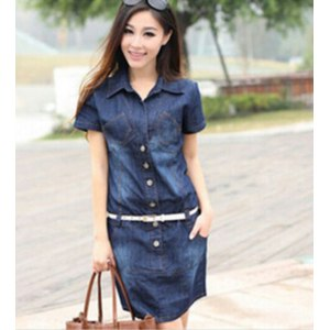 Платье AliExpress Women's Dress Summer Style Plus Size Dresses 5XL Denim Vestidos Short Sleeve Loose-fitting Dress Casual Clothes 2015 Hot C26 фото