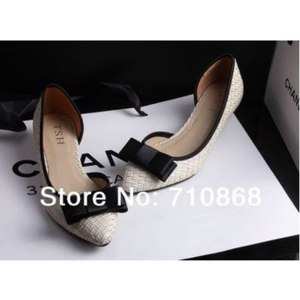 Туфли летние женские Aliexpress Han edition 2014 new bow side empty pointed shoes lighter shoes single women's shoes фото