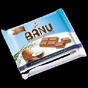 Шоколад молочный  Halloren  BANU Edle Vollmilchschokolade gefüllt mit Kokoscreme und verfeinert mit karamellisierten Kokosraspeln фото