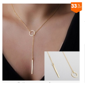 Цепочка Aliexpress 1pc Stylish Casual Punk Metal Chain Bar Circle Lariat Necklace фото