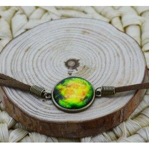 Браслет Aliexpress NEW Galaxy Bracelet galaxy, nebula, space,glass dome bracelet ,Bronze Tone suede leather Bracelet Bangle Harajuku Bracelet фото