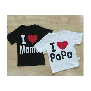 Футболки AliExpress я люблю мама/папа In stock Retail I Love Papa Mama Baby T-shirt girls boys children Clothes for summer T shirt Free Shipping! фото