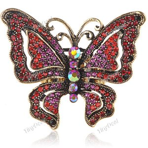 Кольцо Tinydeal Charming Ring Elasticity Finger  Jewelry Collection with Butterfly & Rhinestones Design for Women Lady Girls фото