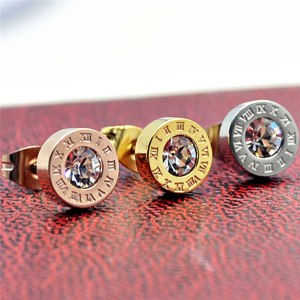 Серьги Aliexpress Stainless Steel Earrings Round Glitter AAA CZ Roman Numeral Zircon Stud Earrings For Women Earrings Fashion Jewelry brincos Z5 фото