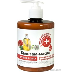 Бальзам-маска Домашний доктор Для волос Тройная сила против выпадения репейное, касторовое и розмариновое, льняное масло фото