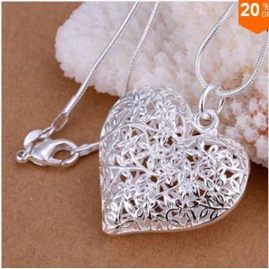 Кулон Aliexpress Free Shipping 925 Sterling Silver Jewelry Pendant Fine Fashion Cute Silver Plated Heart Necklace Pendants Top Quality CP218 фото