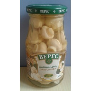 """Шампиньоны Верес консервы стерилизованные """"грибы маринованные шампиньоны """"закусочные"""" целые фото"""