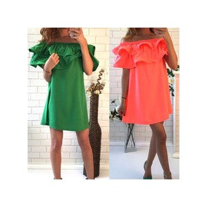 Платье летнее AliExpress New Sexy Women Off the Shoulder Summer Casual Sleeveless Candy Color Party Evening Short Mini Dress фото