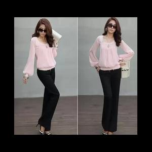Блузка AliExpress Women's New Fashion Round Neck Chiffon Blouse Shirt Top Puff фото