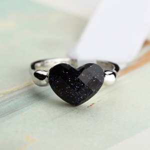 Кольцо Aliexpress Ociki Silver Color Heart Shape Blue Sands Black Crystal Rings for Women Girls Gift Drop Shipping Fashion Jewelry Wholesale фото