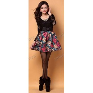 Платье AliExpress Korean Elegant Women's Ladies Painting flowers Print Pattern Splicing Lace + Woolen Dress With Belt фото