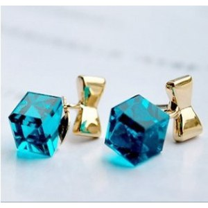 Бижутерия Aliexpress Minimal mix styles $5 Exquisite Unique Square Cubic Crystal Bow Stud Earrings C23R11C Free shipping фото