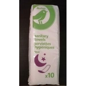 Прокладки Auchan Sanitary towels serviettes hygieniques Maxi ночные 10 штук фото