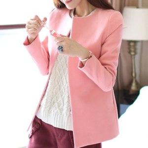 Пальто AliExpress New Spring Autumn Women Long Sleeve Coats Cute Slim Solid Pink White Casual Jacket Outerwear Veste Femme фото