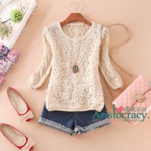Кофта AliExpress Free shipping 2013 autumn women's cutout lace half sleeve pullover sweater  фото