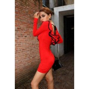 Платье Buyincoins красное Sexy Women Layered Lotus Leaf Long Sleeve Hip-length Cocktail Party Red Dress SG1224 фото