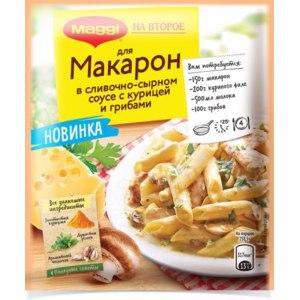 Смесь сухая Maggi На второе для макарон в сливочно-сырном соусе с курицей и грибами фото
