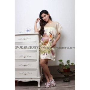Ночная сорочка AliExpress 2015 New Arrival Fashion Sexy Women Round Collar Nightgown Printed,Hot Sale Beige Knee-Length For ladies for summer,autumn фото
