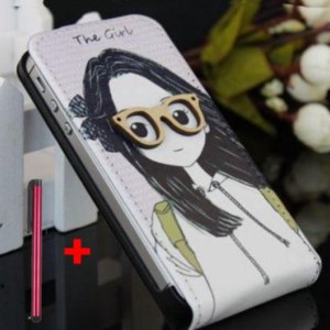Чехол для мобильного телефона Aliexpress For iphone 4 case Girl Boy Sunglasses Leather Case For iPhone 4 4G 4S Free Shipping MOQ 1PC+Free Gift 1pc stylus фото