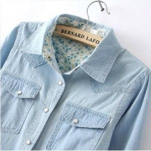 Джинсовая рубашка AliExpress Free Shipping 2014 Women Blouse Spring Autumn Casual Shirts Long Sleeve Denim Cotton Jeans Shirt Casual Women Shirt B-2026 фото