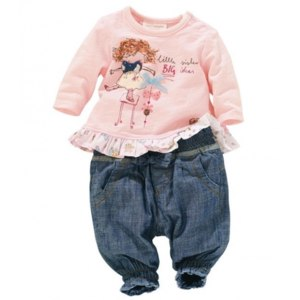 Комплект AliExpress In 2014 new product, girls, and summer clothes, pink long sleeve T-shirt + jeans suit, free shipping clothing set фото
