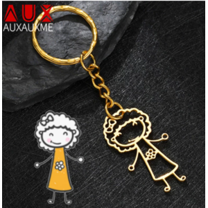 Брелок для ключей Aliexpress по  рисунку ребенка Auxauxme children's drawing keychain, customized stainless steel name keychain for children's creativity, Christmas gift for children фото
