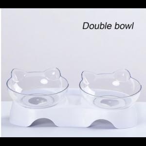 Миска для кошек Aliexpress Single/double 15 degree oblique oblique cat ears drinking bowl drinking adjustable removable pet food holder transparent фото
