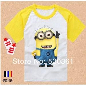 Футболка AliExpress 014 new cartoon anime figure Despicable Me Minion mignon clothes suit children's clothes kids T-shirts children's clothing фото
